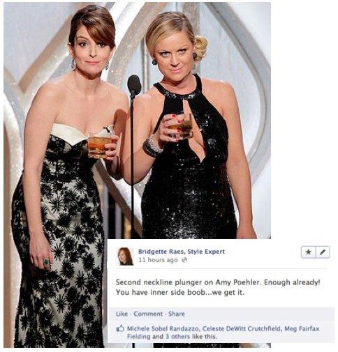 Amy Poehler Plunging Neckline 2013 Golden Globes Fashion