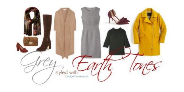 How to Wear Grey styled with Earth Tones