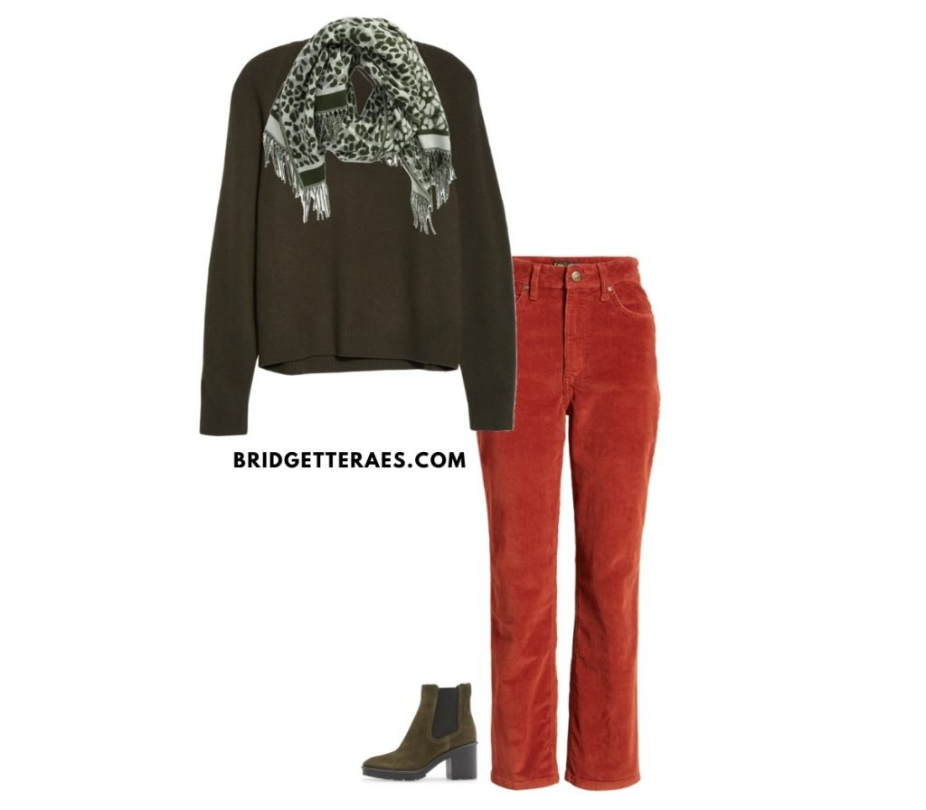 colored pants outfit fall